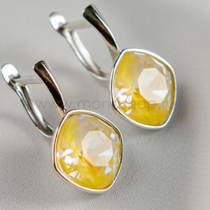 Серьги «Чаровница» с лимонными кристаллами Swarovski