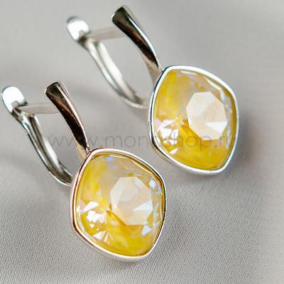 Серьги Чаровница с лимонными кристаллами Swarovski