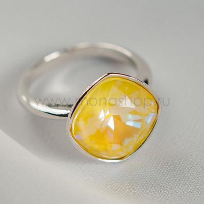 Кольцо Чаровница с лимонным кристаллом Swarovski