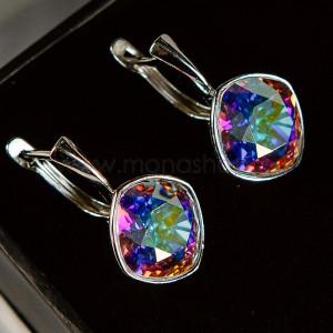 Серьги «Чаровница» с кристаллами-хамелеонами Swarovski