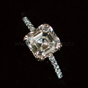 Кольцо «Принцесса» с белым кристаллом Swarovski