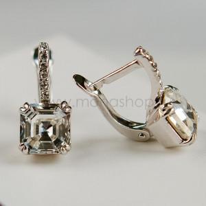 Серьги «Принцесса» с белыми кристаллами Swarovski