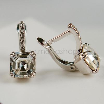 Серьги Принцесса с белыми кристаллами Swarovski