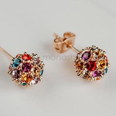 Серьги Разноцветные шарики с кристаллами Сваровски