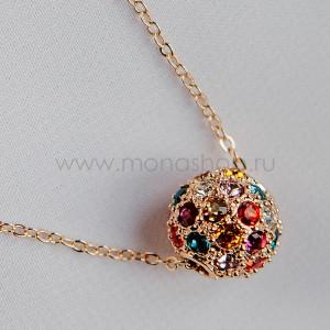 Кулон «Разноцветный шарик» с кристаллами Сваровски