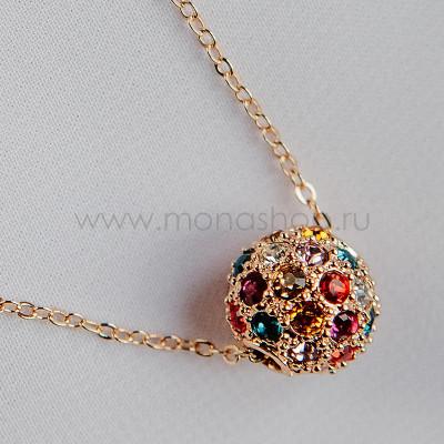Кулон Разноцветный шарик с кристаллами Сваровски