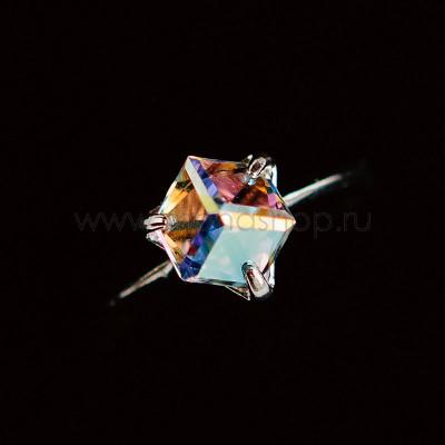 Кольцо Миражи тонкое с кристаллом-хамелеоном Swarovski