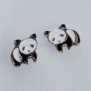 Серьги детские серебряные «Маленькая панда» с черной и белой эмалью