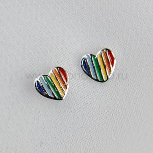 Серьги детские серебряные «Разноцветная радуга» в форме сердца