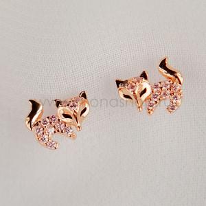 Серьги детские серебряные «Хитрые лисички» с фианитами, покрытие - золото