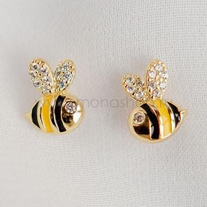 Серьги детские серебряные «Пчелки» с эмалью и фианитами, покрытие - золото