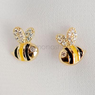 Серьги детские серебряные Пчелки с эмалью и фианитами, покрытие - золото
