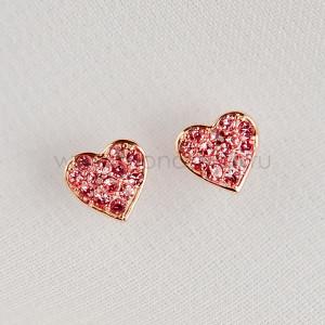 Серьги детские серебряные Розовое сердце с россыпью фианитов, покрытие - золото