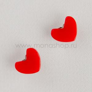 Серьги детские серебряные «Красное сердце»