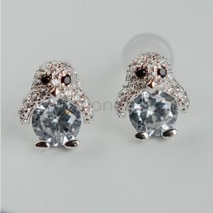 Серьги детские серебряные «Пингвины» с белыми фианитами