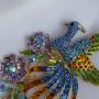 Брошь крупная Жар-Птица с разноцветными кристаллами