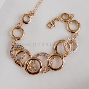 Браслет двойной Золотые кольца с кристаллами