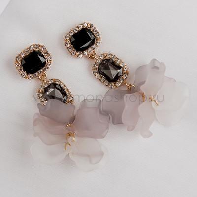 Серьги Танго с черными кристаллами и лепестками