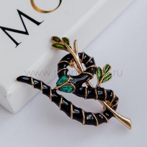 Брошь Черная змея на ветке