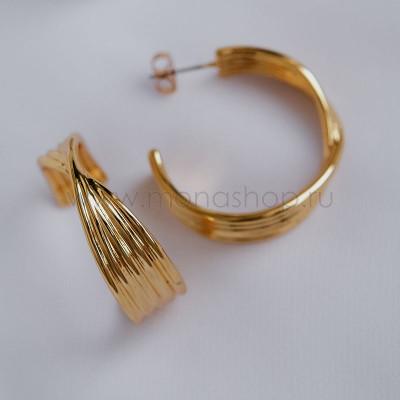 Серьги-кольца Золотые косы