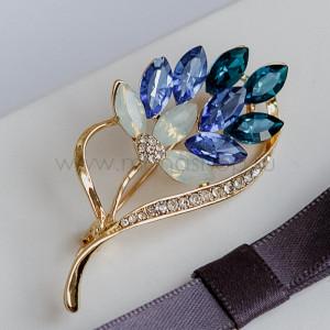 Брошь Лавандовая ветка с голубыми кристаллами Сваровски